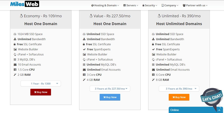 MilesWeb-Pricing
